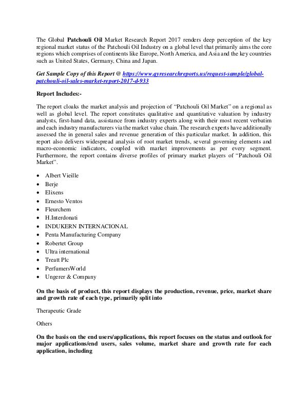 QY Research Groups Patchouli Oil Market