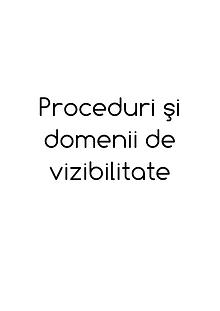 Proceduri şi Domenii de vizibilitate