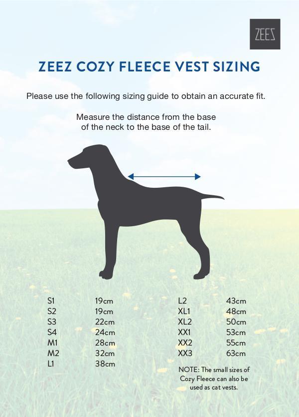 Coats, boots, halters, thunder shirts, Zen Dog, etc sizing guides ZEEZ COZY FLEECE VEST SIZING