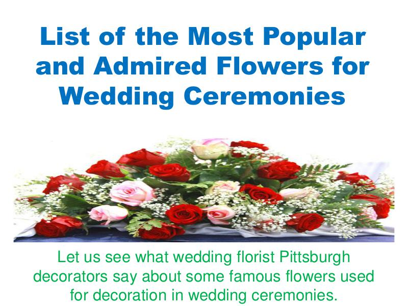 List of the Most Popular and Admired Flowers for Wedding Ceremonies 1