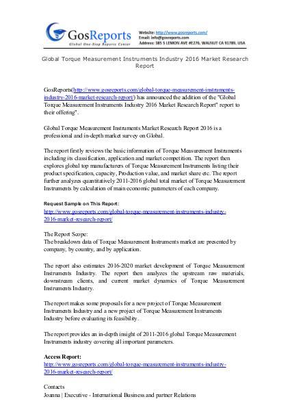 Global Torque Measurement Instruments Industry 2016 Market Research R Torque Measurement Instruments
