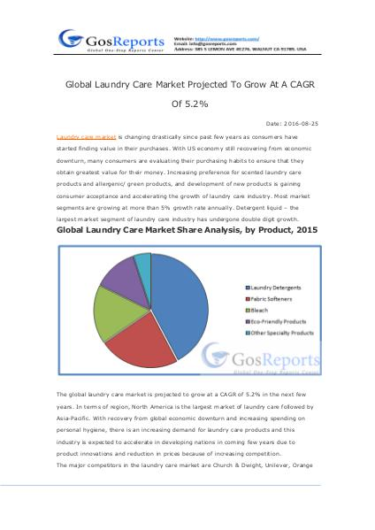 Global Laundry Care Market Projected To Grow At A CAGR Of 5.2% Global Laundry Care Market