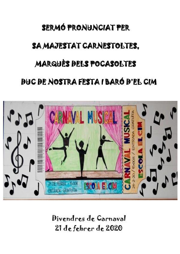 Sermó Carnestoltes Escola El Cim- Carnaval 2020 SERMÓ 2020
