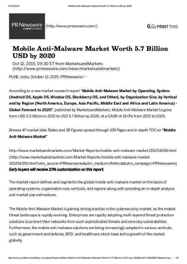 Mobile Anti-Malware Market worth $ 5.7 Billion by 2020 Mobile Anti-Malware Market