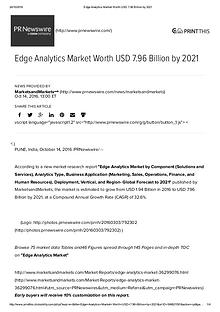 Edge Analytics Market worth 7.96 Billion USD by 2021