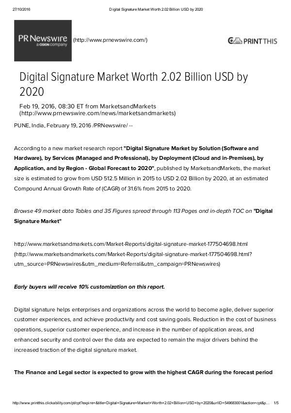 Digital Signature Market worth $ 2.02 Billion by 2020 Digital Signature Market