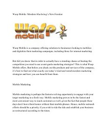 Waspmobile llc:  The Need for Technology  driven Marketing Strategies.