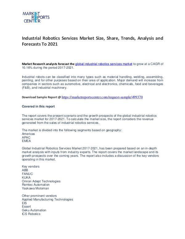 Industrial Robotics Services Market Size, Share, Trends and Analysis Industrial Robotics Services Market