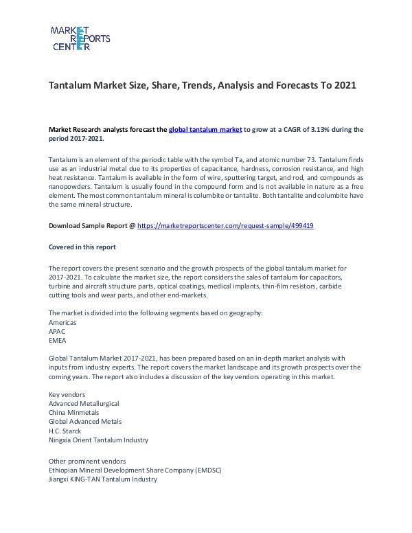 Tantalum Market Size, Share, Trends, Analysis and Forecasts To 2021 Tantalum Market