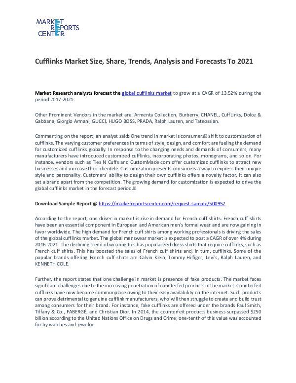 Cufflinks Market Size, Share, Challenges, Drivers and Forecast Cufflinks Market