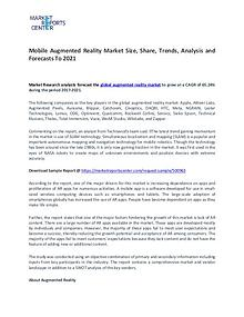 Mobile Augmented Reality Market Trends, Growth, Price and Forcast