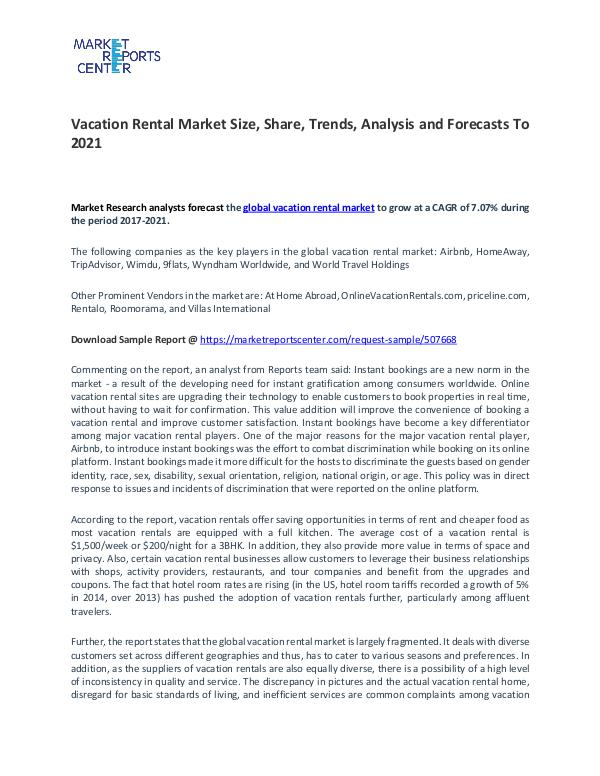 Vacation Rental Market By Trends, Driver, Challenge and Forecasts Vacation Rental Market