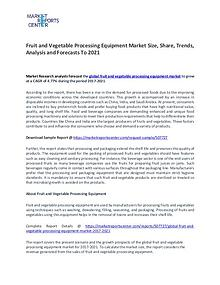 Fruit and Vegetable Processing Equipment Market Research Reports