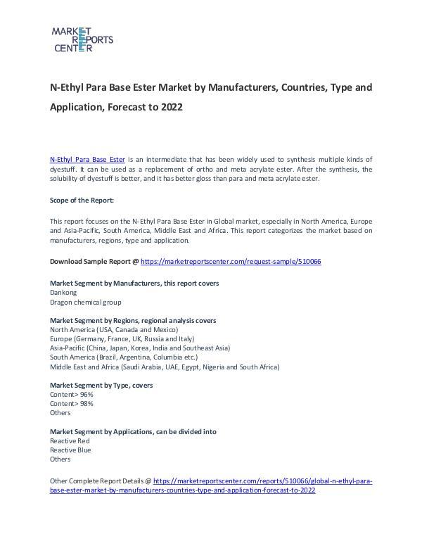 N-Ethyl Para Base Ester Market 2017: Industry trends and Forecast N-Ethyl Para Base Ester Market T