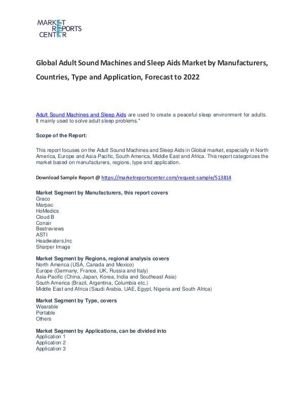 Adult Sound Machines and Sleep Aids Market Reports Analysis to 2022 Adult Sound Machines and Sleep Aids Market