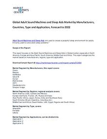 Adult Sound Machines and Sleep Aids Market Reports Analysis to 2022