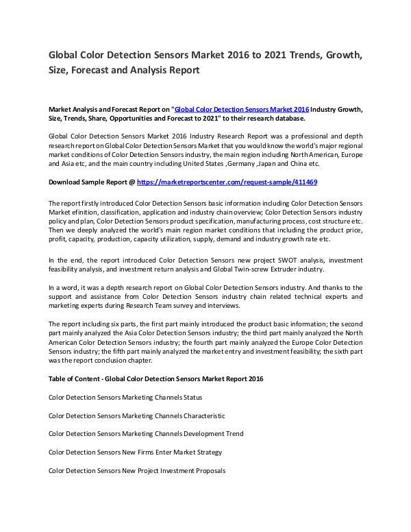 Colour Detection Sensor Market 2017 to 2021 Colour Detection Sensor Market 2017 to 2021