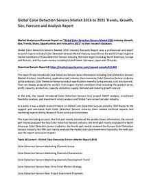 Colour Detection Sensor Market 2017 to 2021