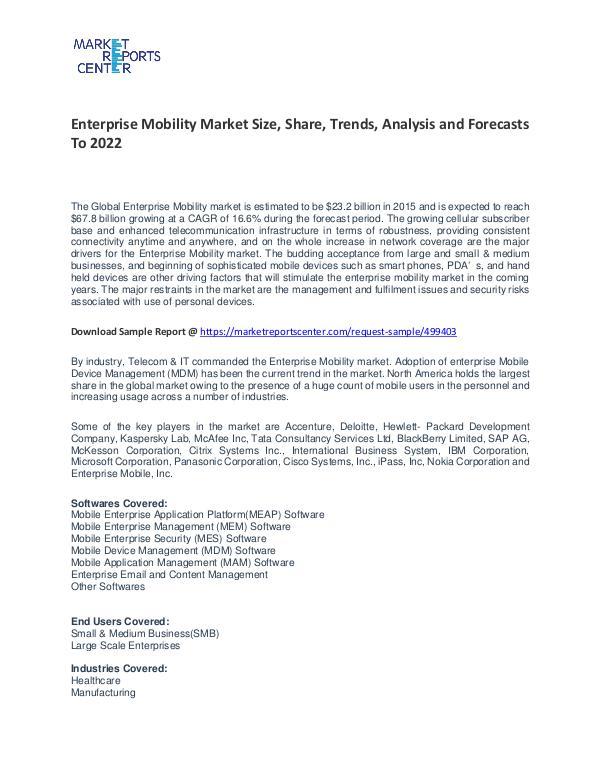 Enterprise Mobility Market Growth, Price, Demand and Forecast Enterprise Mobility Market