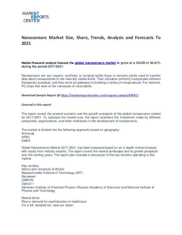 Nanosensors Market Size, Share, Trends, Analysis and Forecasts Nanosensors Market