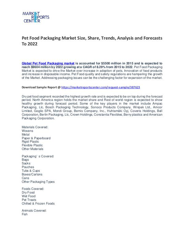 Pet Food Packaging Market Growth, Trends, Price and Forecasts To 2021 Pet Food Packaging Market Size, Share, Trends, An