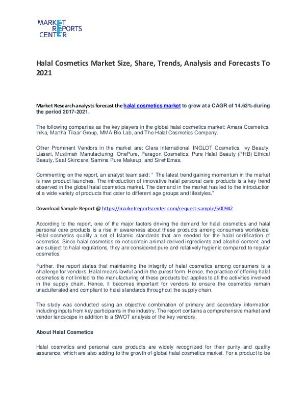 Halal Cosmetics Market Growth, Trends, Price and Forecasts To 2021 Halal Cosmetics Market