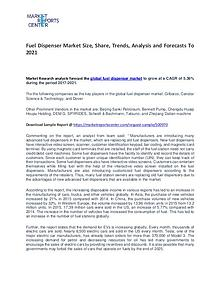 Fuel Dispenser Market Trends, Growth, Price, Demand and Forecasts