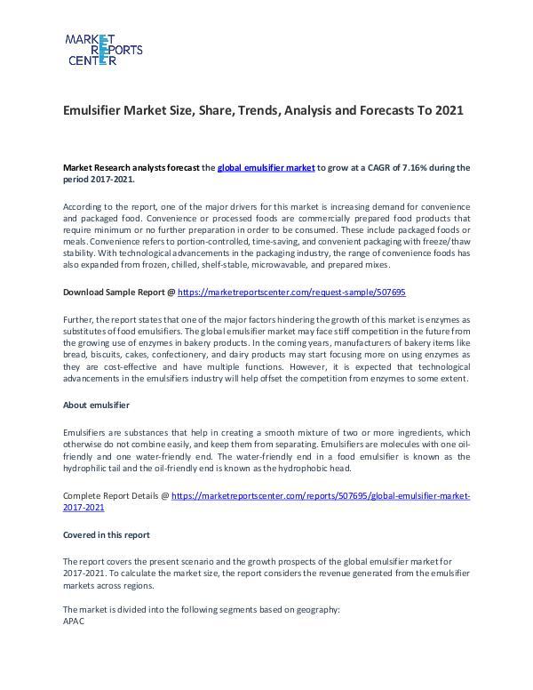 Emulsifier Market Research Report Forecasts To 2021 Emulsifier Market