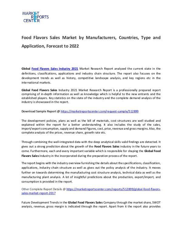 Food Flavors Sales Market Size, Production, Gross Margin and Forecast Food Flavors Sales Market