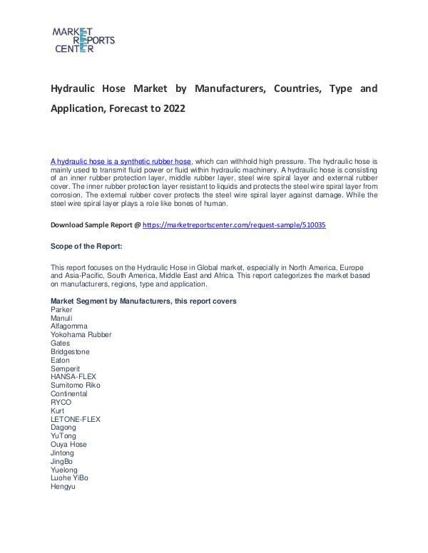 Hydraulic Hose Market Research Report Analysis to 2022 Hydraulic Hose Market