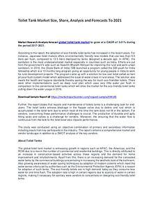 Toilet Tank Market Report Analysis to 2021