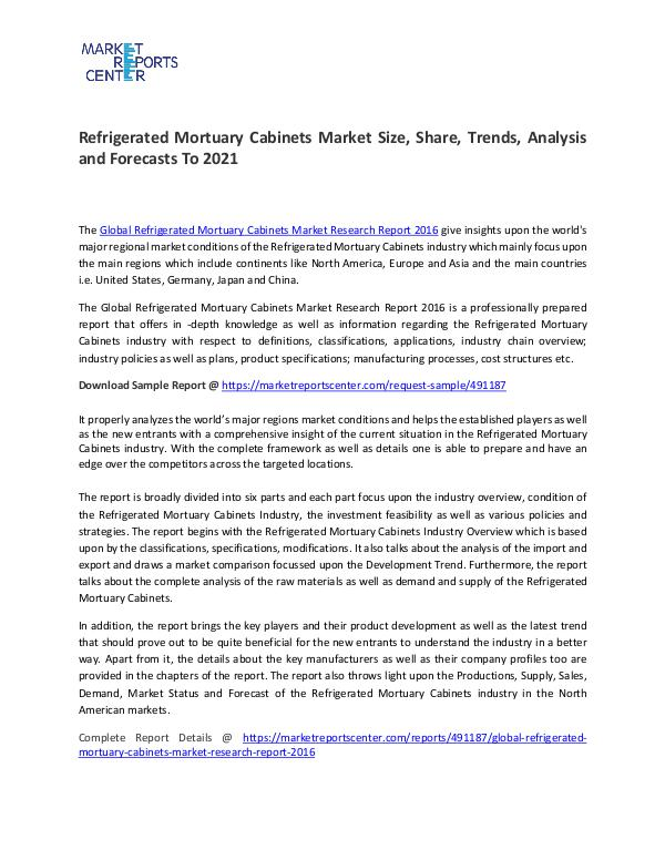 Refrigerated Mortuary Cabinets Market Size, Share, Trends Analysis Refrigerated Mortuary Cabinets Market