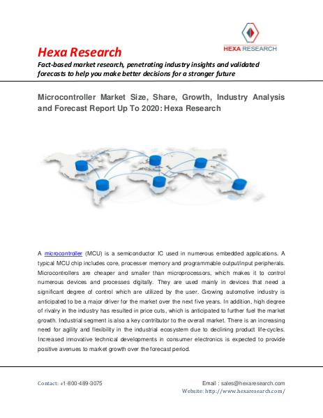 Semiconductors and Electronics Market Research Report Microcontroller Market Research Report Up To 2020