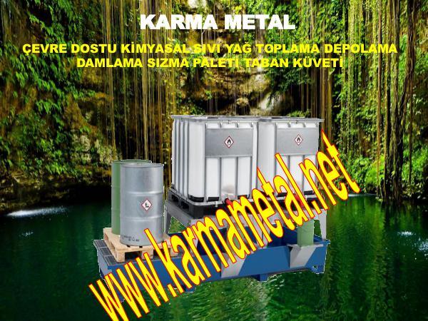 KARMA METAL istiflenebilir sivi kimyasal atik toplama kuveti akma damlama sizma kabi