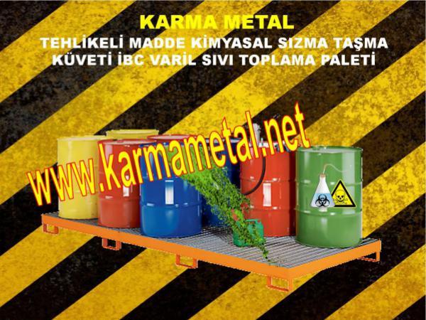 Tehlikeli kimyasal atik saklama tasma depolama kuveti KARMA METAL geri donusturulebilir kuvet
