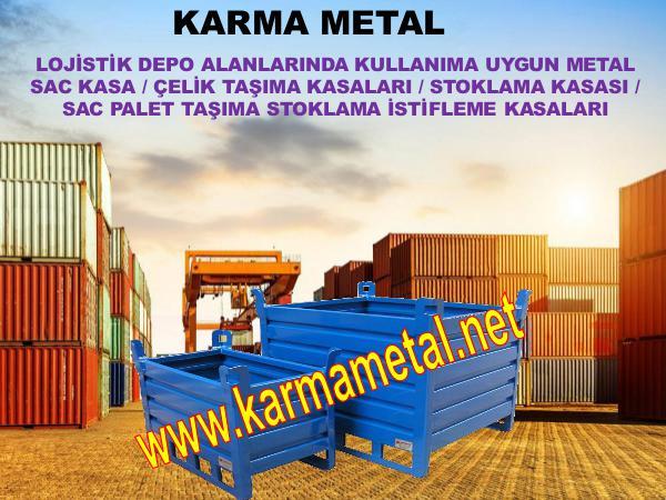Karma Metal katlanabilir istiflenebilir metal tasima kasasi kasalari vida gijon somun pul rulman civi tasima metal kasa