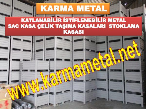 KARMA METAL Istiflenebilir Metal Depolama Tasima Kasasi Avadanlik Metal Sac Kutu Tasima Kasalari