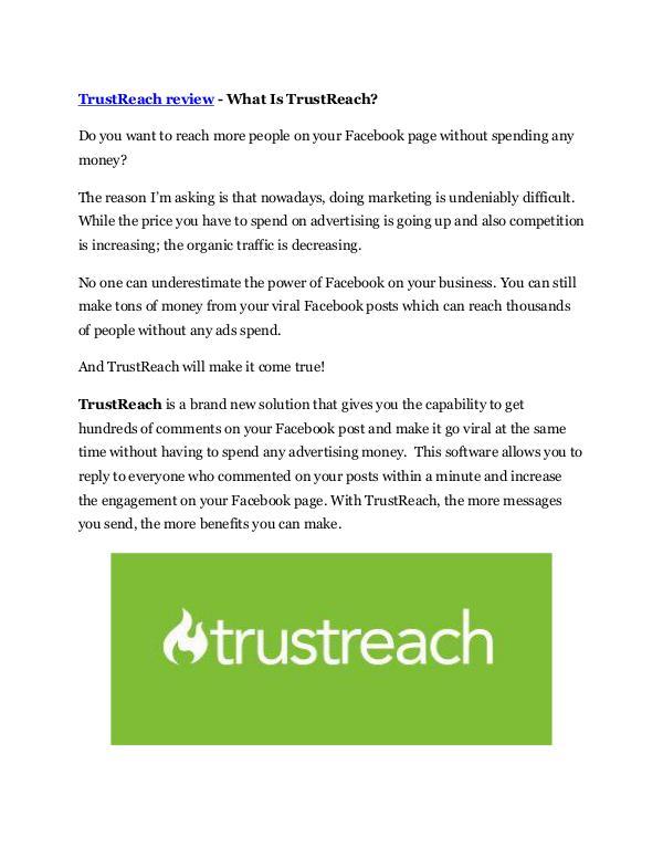 Marketing TrustReach Review - $24,700 BONUS & DISCOUNT
