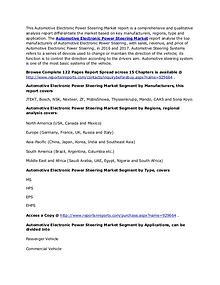 Global Automotive Electronic Power Steering Market 2022 Forecasts