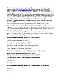 Warehouse Robotics Market Analysis and Forecast Key Industry To 2022