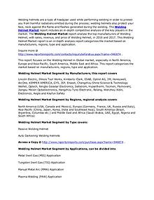 Worldwide Welding Helmet Market by Key Regions, Type and Forecast 202
