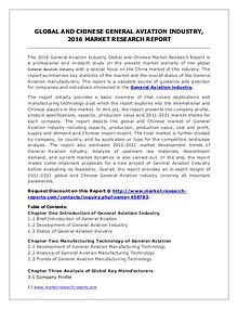 Global and Chinese General Aviation Market Analysis Report 2016