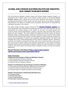 Global and Chinese Electron Multiplier Market Research report 2016