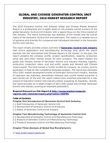 Generator Control Unit Market Analysis, Size, Share and Forecast 2021