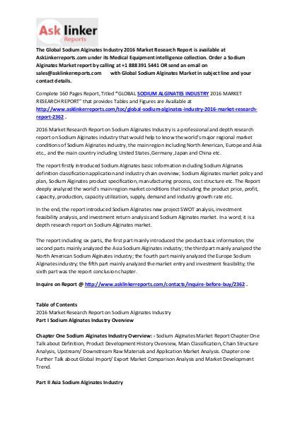 Sodium Alginates Market Share and Manufactures Analysis Report 2016 Feb. 2016