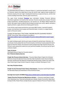 Threonine Market Capacity Production and Forecasts 2016 to 2020