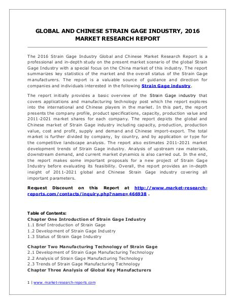 Global Strain Gage Market Analysis and Industry Forecasts to 2020 Jul. 2016
