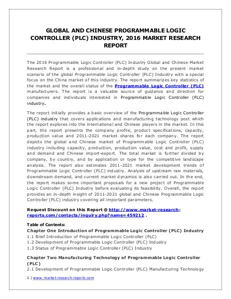 Programmable Logic Controller Market Analysis and Forecsats to 2020 Jul. 2016