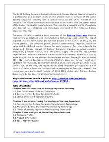 Battery Separator Market Chain Structure and Industry Forecasts 2020