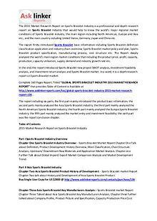 Sports Bracelet Market Development, Trends and Forecasts to 2020